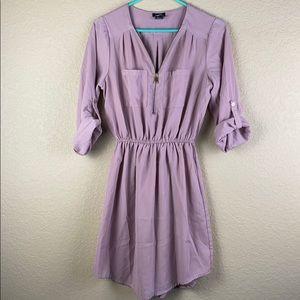roll tab sleeve mauve dress • size small